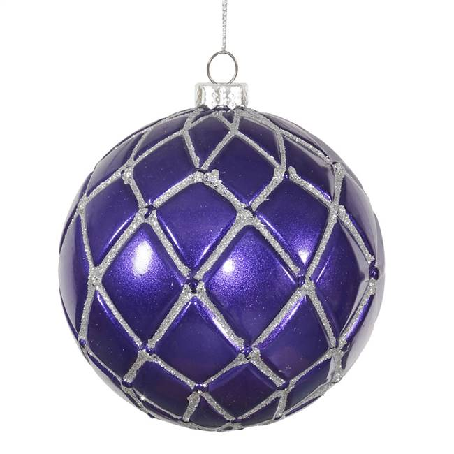 "4"" Plum Candy Glitter Net Ball 6/Box"