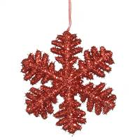 "6""  Red Glitter Snowflake"