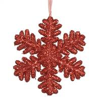 "9""  Red Glitter Snowflake"