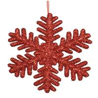 "13.75"" Red Glitter Snowflake"