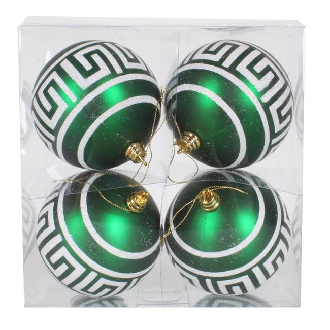 "4"" Green Ball Silver Glitter 4/Box"