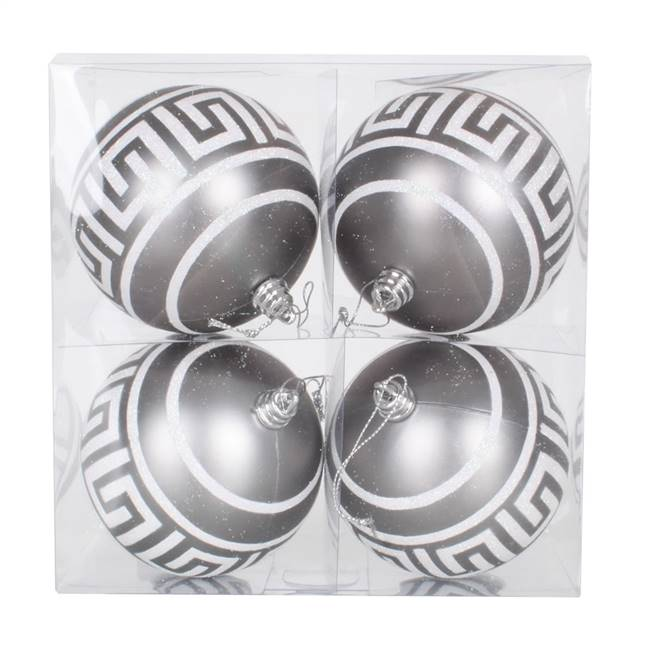 "4"" Pewter Ball Silver Glitter 4/Box"