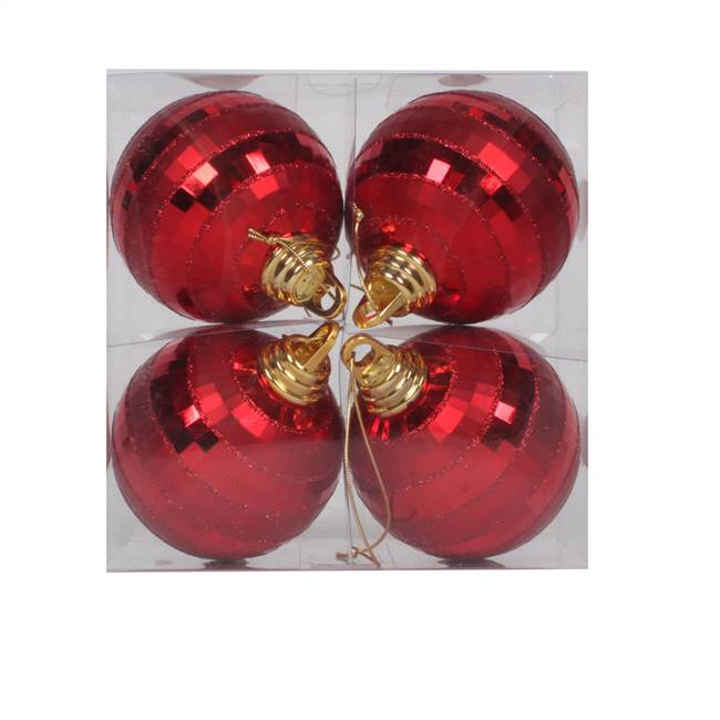 "4"" Red Shiny-Matte Mirror Ball 4/Box"