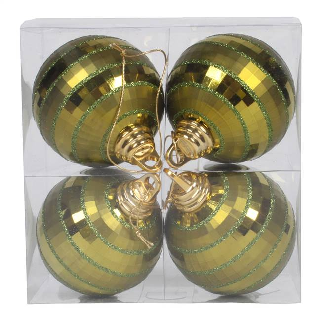 "4"" Olive Shiny-Matte Mirror Ball 4/Bx"
