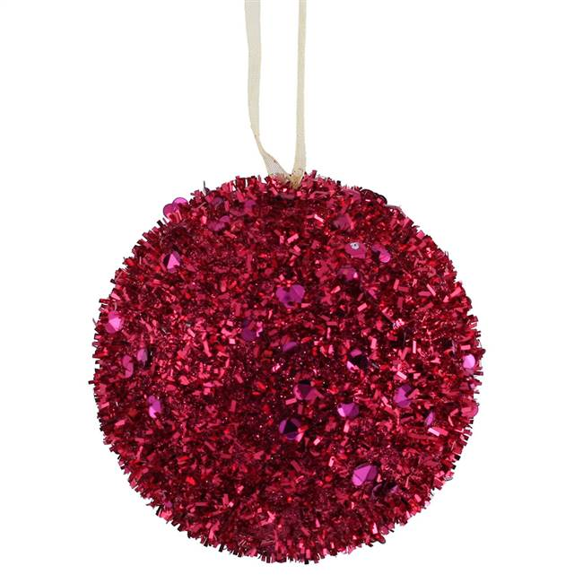 "4"" Cerise Sequin Glitter Ball 4/Box"
