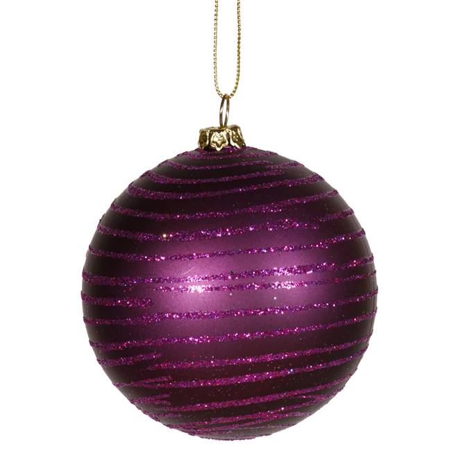 "4"" Plum Matte-Glitter Ball 4/Box"