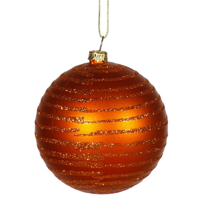 "4.75"" Burn Orange MatteGlitter Ball 3/Bx"