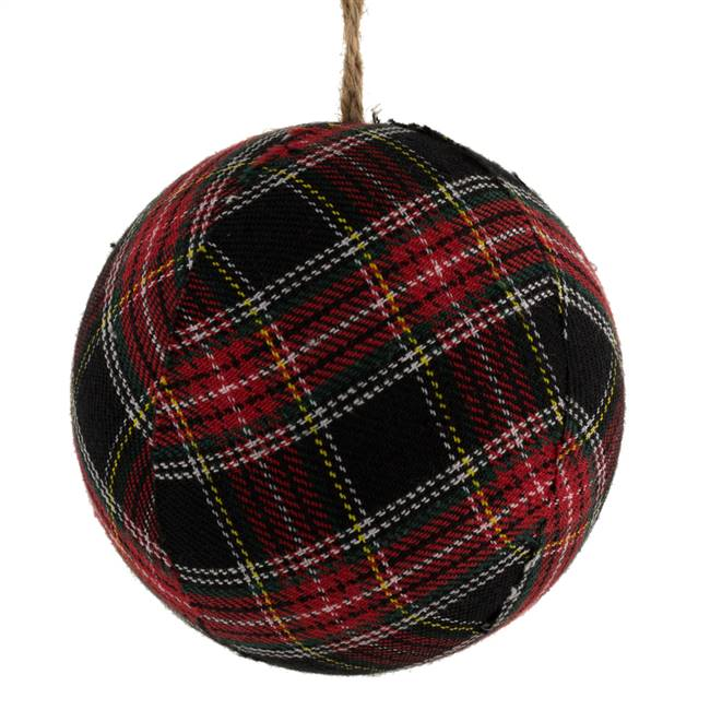 "4"" Red/Black Fabric Plaid Ball 4/Box"