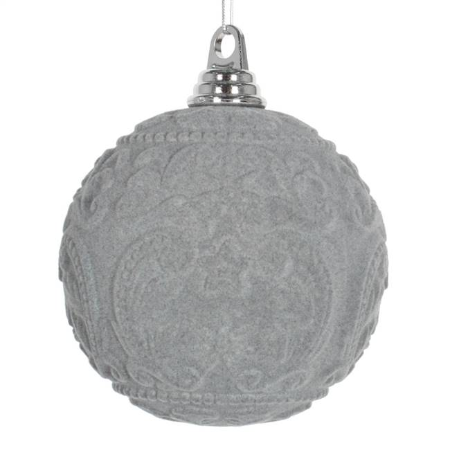 "5.5"" Gray Flocked Embossed Ball 2/Box"