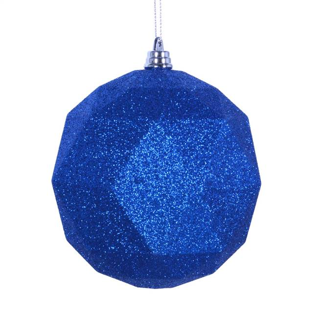 "4.75"" Blue Glitter Geo Ball 4/bag"