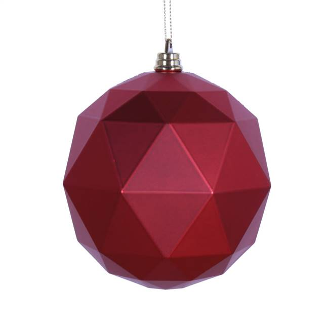 "4.75"" Red Matte Geometric Ball 4/bag"