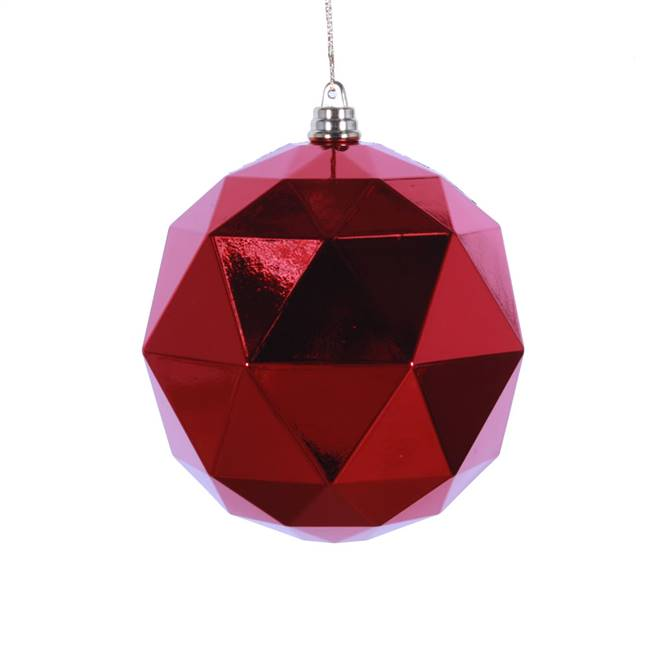 "4.75"" Red Shiny Geometric Ball 4/bag"