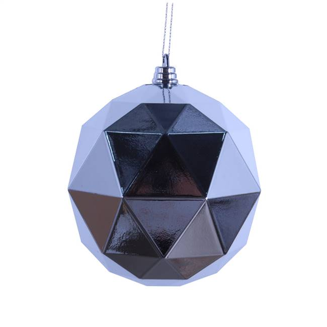 "4.75"" Silver Shiny Geometric Ball 4/Bag"