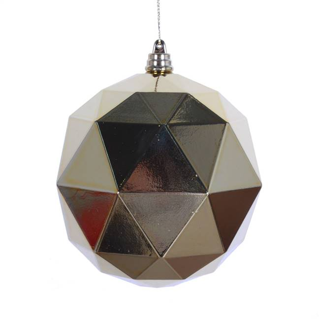 "4.75"" Gold Shiny Geometric Ball 4/bag"