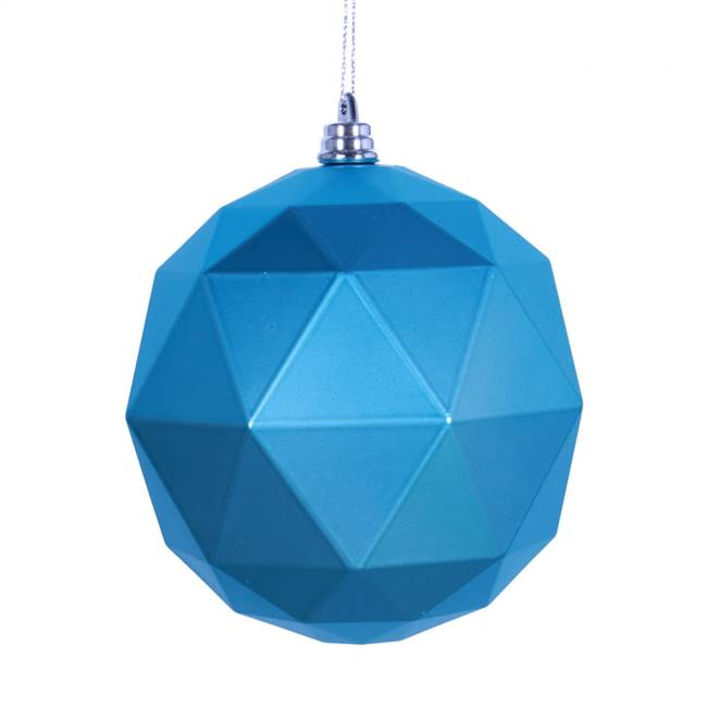 "4.75"" Turq. Matte Geometric Ball 4/bag"