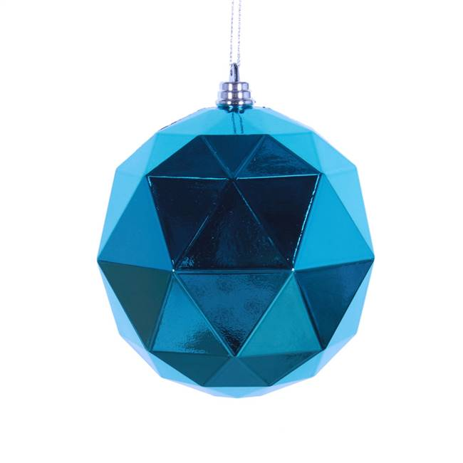 "4.75"" Turq. Shiny Geometric Ball 4/bag"