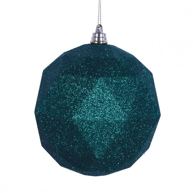 "4.75"" Emerald Glitter Geo Ball 4/bag"