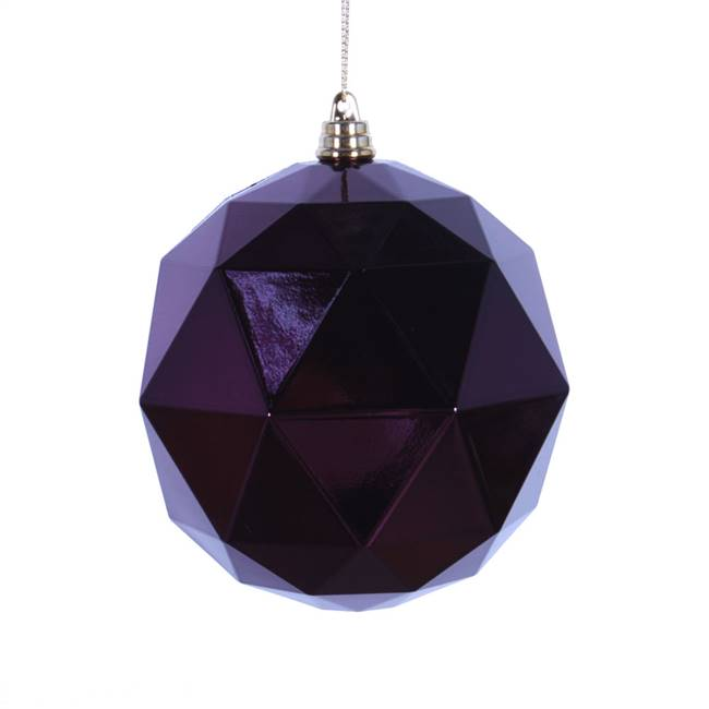 "4.75"" Plum Shiny Geometric Ball 4/bag"