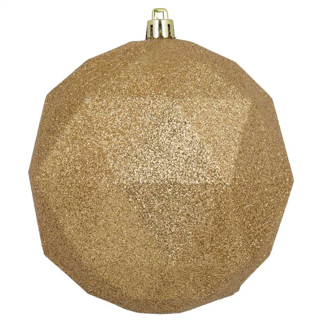 "4.75"" Copper/Gold Glitter Geo Ball 4/Bg"