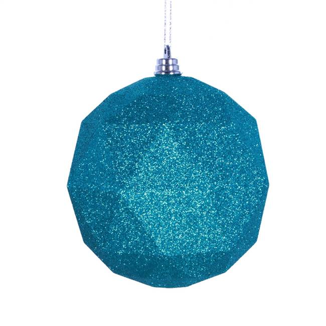 "4.75"" Teal Glitter Geometric Ball 4/bag"