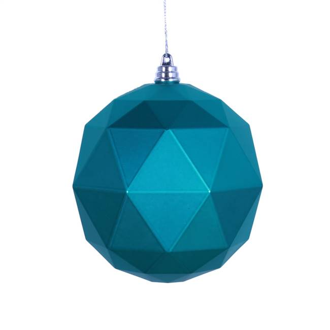 "4.75"" Teal Matte Geometric Ball 4/bag"
