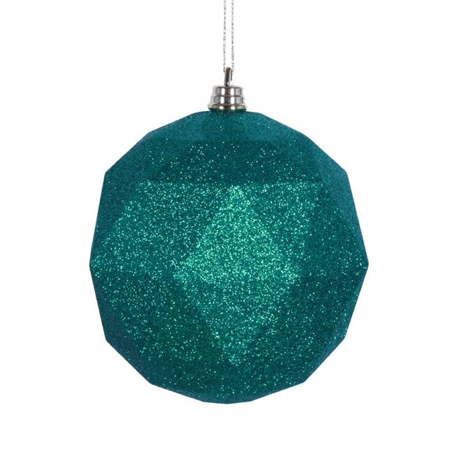 "4.75"" Seafoam Grn Glitter Geo Ball 4/bag"