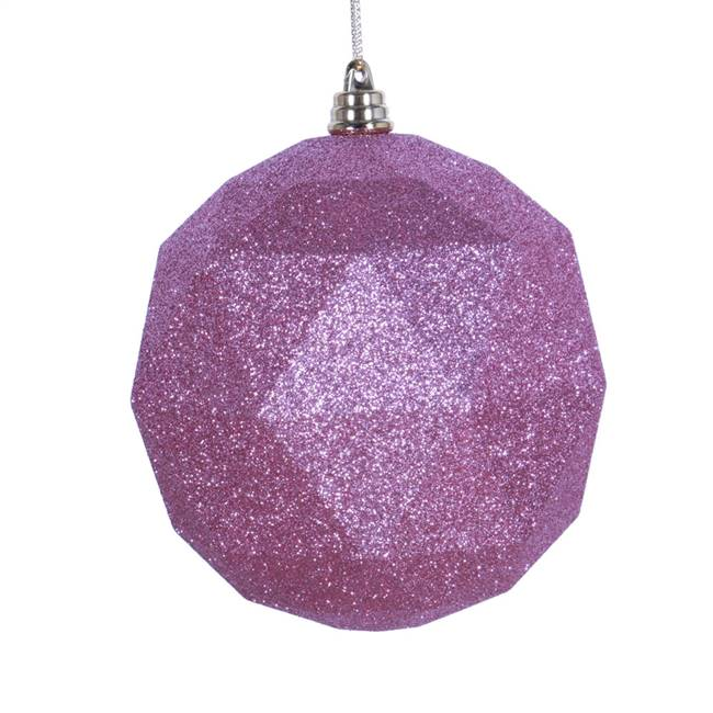 "4.75"" Mauve Glitter Geometric Ball 4/bag"