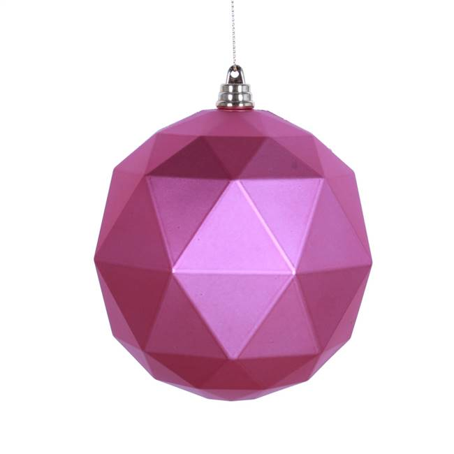 "4.75"" Mauve Matte Geometric Ball 4/bag"