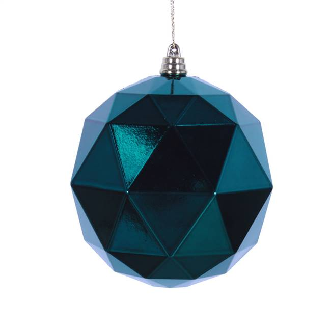 "4.75"" Sea blue Shiny Geo Ball 4/bag"