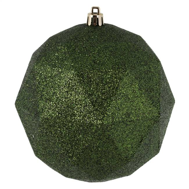 "4.75"" Moss Green Glitter Geometric Ball"