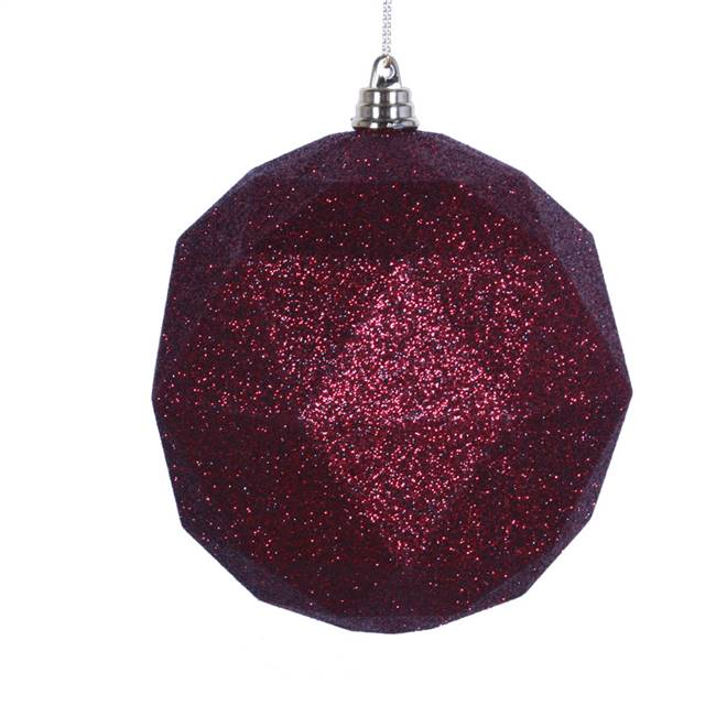 "4.75"" Burgundy Glitter Geo Ball 4/bag"