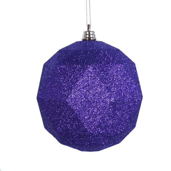 "4.75"" Purple Glitter Geo Ball 4/bag"