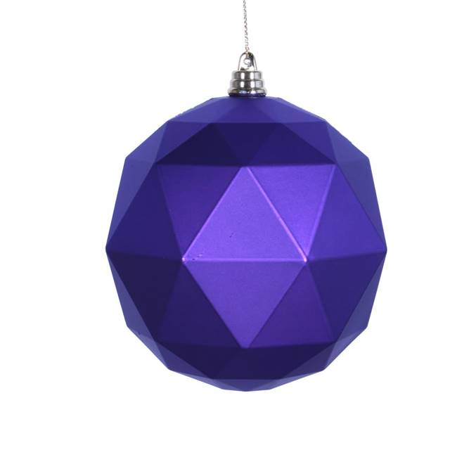 "4.75"" Purple Matte Geometric Ball 4/bag"