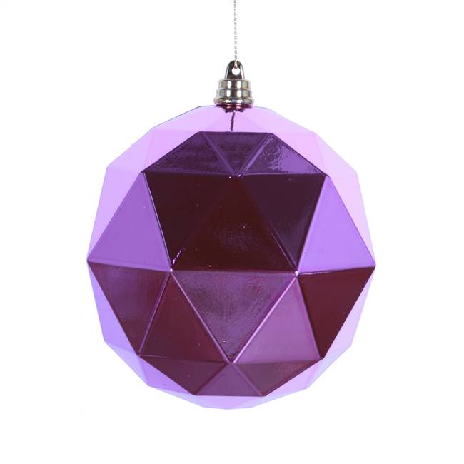"4.75"" Orchid Shiny Geometric Ball 4/bag"