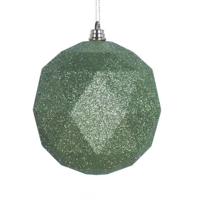 "4.75"" Lime Glitter Geometric Ball 4/bag"