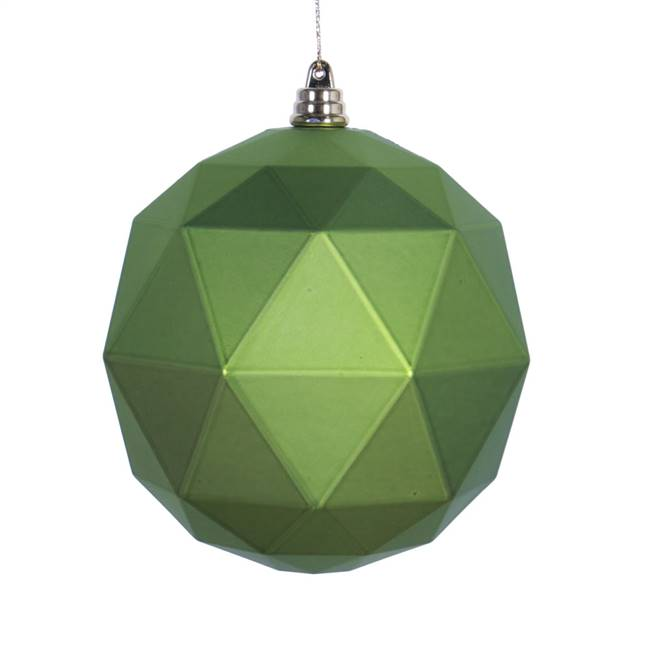 "4.75"" Lime Matte Geometric Ball 4/bag"