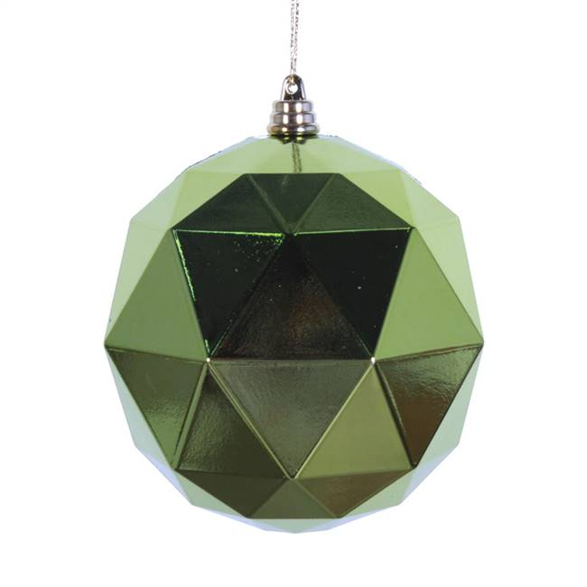 "4.75"" Lime Shiny Geometric Ball 4/bag"
