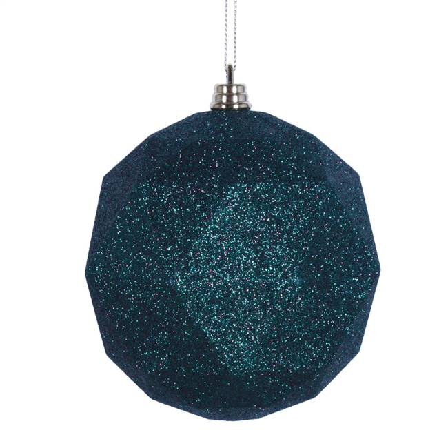 "4.75"" Midnight Grn Glitt Geo Ball 4/bag"
