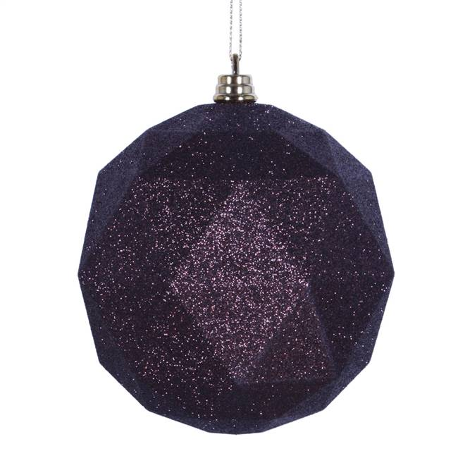 "4.75"" Mocha Glitter Geometric Ball 4/bag"