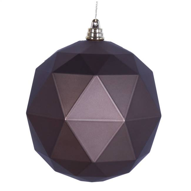 "4.75"" Mocha Matte Geometric Ball 4/bag"