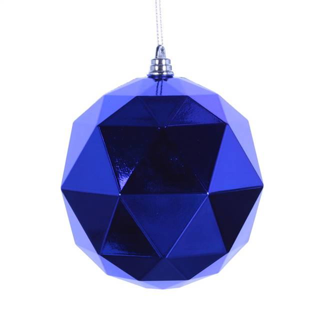 "6"" Blue Shiny Geometric Ball 4/bag"