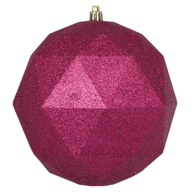 "6"" Berry Red Glitter Geometric Ball 4/Bg"