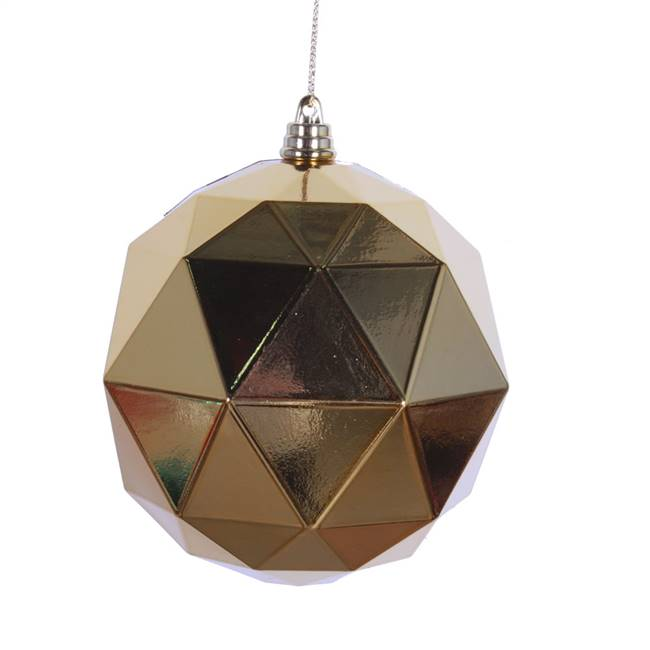"6"" Honey Gold Shiny Geometric Ball 4/bag"