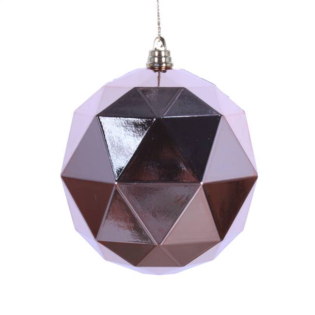 "6"" Rose Gold Shiny Geometric Ball 4/bag"