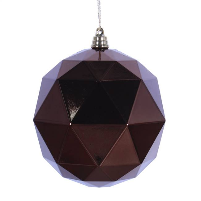 "6"" Mocha Shiny Geometric Ball 4/bag"