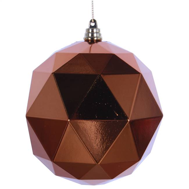 "6"" Copper Shiny Geometric Ball 4/bag"