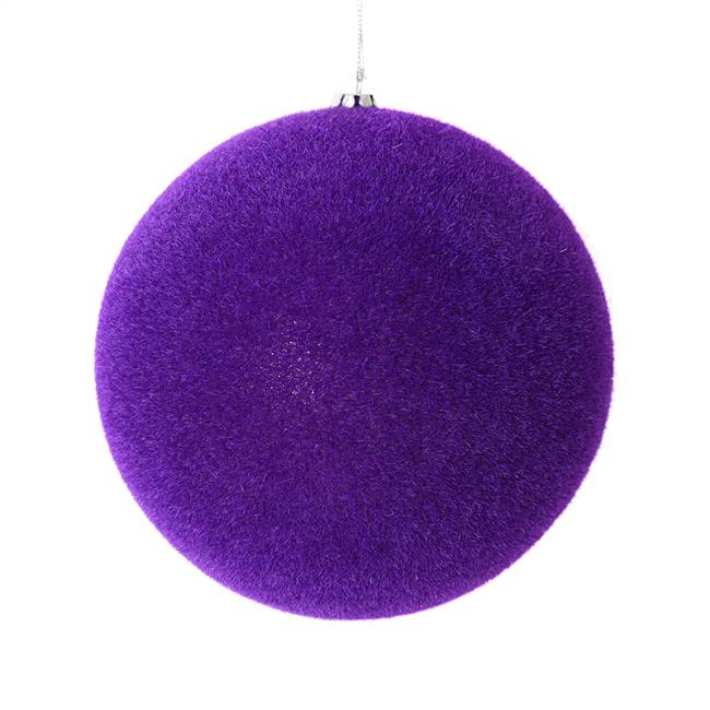 "5"" Purple Flocked Ball Ornament 4/Bg"
