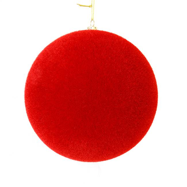 "10"" Red Flocked Ball Ornament"