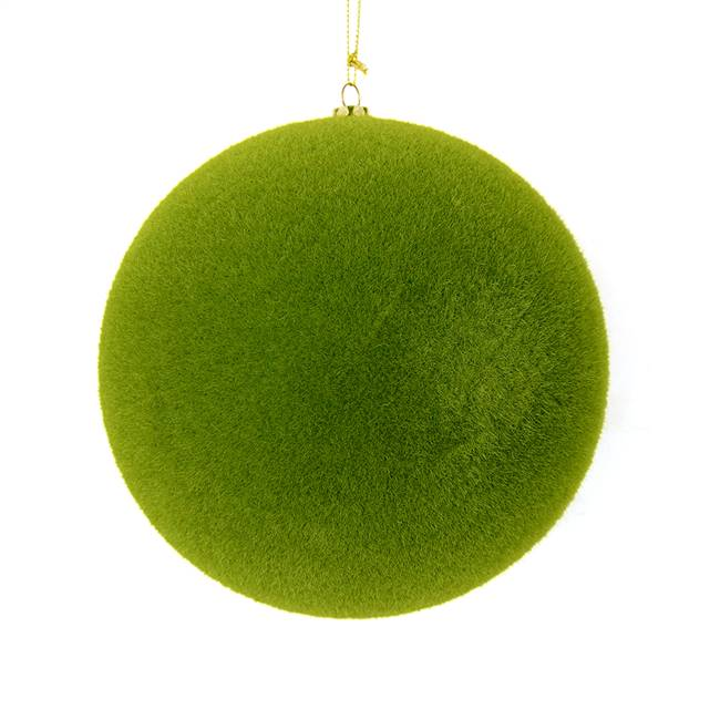"10"" Moss Green Flocked Ball Ornament"