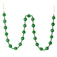 6' Green Stripe Ball Ornament Garland